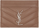 Saint Laurent Brown Quilted Monogram Card Holder