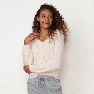 Lauren Conrad Women's Chevron Pointelle V-Neck Sweater