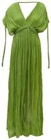 Kasia Kulenty - Aura High-slit Cotton-gauze Maxi Dress - Womens - Green