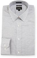 Neiman Marcus Trim-Fit Textured Dress Shirt, Gray