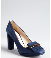 Prada Sport navy suede platform loafer pumps