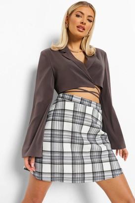 boohoo Check Jersey A-line Mini Skirt