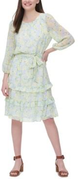 Calvin Klein Printed Ruffle-Trim Dress