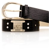 Black Croc Belt with Gold Logo Plaque