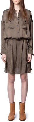 Zadig & Voltaire Romeo Rumpled Satin Long Sleeve Shirtdress