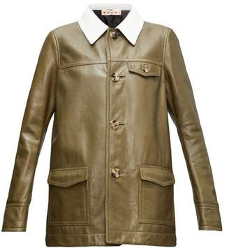 Marni Contrast-collar Leather Jacket - Womens - Green