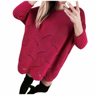 Aiserkly Women Solid Pullover Long Sleeve Loose Hollow Comfy Knit Sweaters Jumper Tops Trendy Plus Size Solid Color Clothes Red