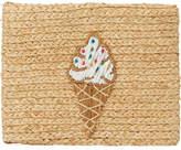 Buji Baja Whimsical Ice Cream Raffia Clutch Bag