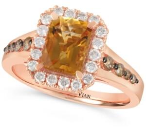 LeVian Le Vian Cinnamon Citrine (1-1/3 ct. t.w.) & Diamond (1/2 ct. t.w.) Ring in 14k Rose Gold