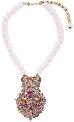 Heidi Daus Filagree Fan Crystal Glass Beaded Pendant Necklace