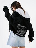 Stussy New Womens Keyline Stack Crop Denim Jacket In Black Jackets Denim