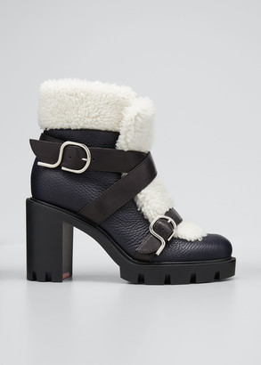 Christian Louboutin Pole Chic Shearling Red Sole Combat Booties