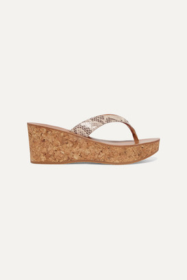 K Jacques St Tropez Diorite Snake-effect Leather Wedge Sandals - Snake print