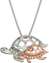 Ice 10K Two-Tone Gold and Silver Mom and Child Turtle Pendant with Diamond Accents