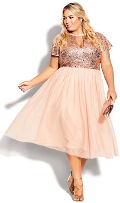 City Chic Sparkle Joy Dress - quartz