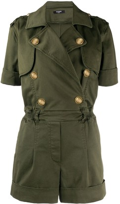 Balmain Double-Breasted Short-Sleeved Playsuit