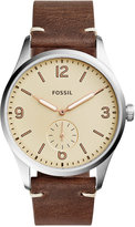 Fossil Men's Vintage 54 Brown Leather Strap Watch 42mm FS5244