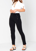 Missy Empire Daya Black Triple Button High Waisted Trousers