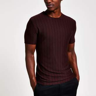 River Island Mens Red pinstripe slim fit knitted t-shirt