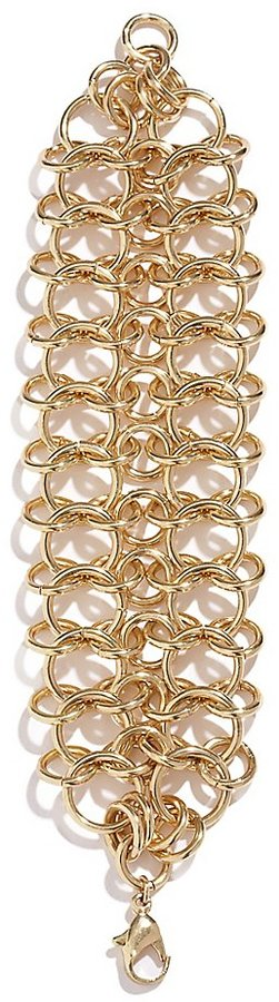 GUESS Straight-Up Gold-Tone Weave Bracelet