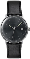 Junghans 041/4465.00 Max Bill Stainless Steel Leather Strap Watch, Black
