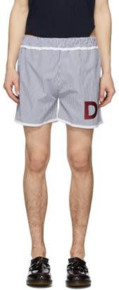 Daniel W. Fletcher White and Blue Stripe Boxer Shorts