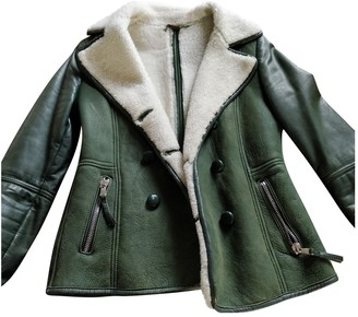 Le Sentier Green Leather Jacket for Women