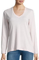 Lord & Taylor Knit V-Neck Long-Sleeve T-Shirt