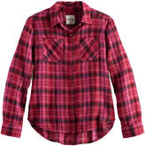 Mudd Girls 7-16 Metallic Plaid Button-Front Flannel Shirt