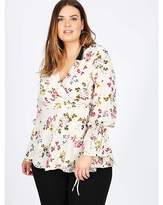 Koko floral wrap over ruffle cuff blouse