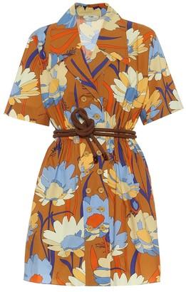 Fendi Floral cotton-poplin minidress