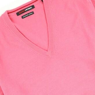 Romeo Merino - Merino Wool V-Neck Sweater Salmon