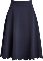 Lucy Paris Navy Scalloped Gina A-Line Skirt