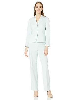 Le Suit Women's Textured Weave 2 Button Notch Collar Pant Suit