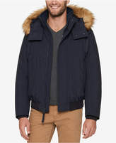 Andrew Marc Men's Bomber Jacket with Fleece Inset and Faux-Fur Hood