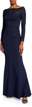 Chiara Boni Mesh Boat-Neck Long-Sleeve Gown with Beading