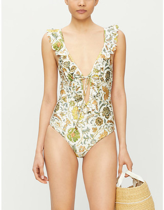 Zimmermann Floral-print ruffle-trimmed swimsuit