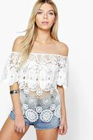 Boohoo Lillie Off The Shoulder Crochet Floral Top