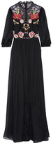 Temperley London Aura Embroidered Silk-blend Chiffon And Lace Gown - Black