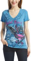 Rebel Spirit Blue Key Heart V-Neck Tee - Women