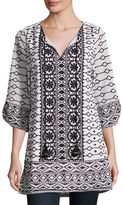 Tolani Selma Embroidered Cotton Tunic, Plus Size
