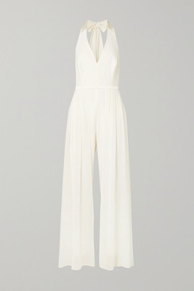 Halston Layered Satin-trimmed Crepe And Chiffon Halterneck Jumpsuit - White