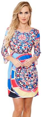 White Mark Women's Geometric Print Mini Dress