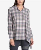 DKNY Cotton Plaid Tunic Shirt
