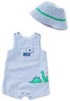 Little Me Baby Boys 3-12 Months Dinosaur-Applique Striped Shortall & Hat Set