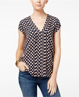 Tommy Hilfiger Pleated Floral-Print Top