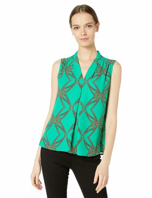 Nine West Women's Sleeveless V-Neck Printed Blouse