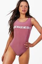 boohoo NEW Womens Florence Rose Made Me Do It Slogan Bodysuit in Dusky Pink size