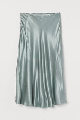 H&M Calf-length Satin Skirt - Green