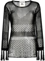 Semi-Couture Semicouture mesh fringe top